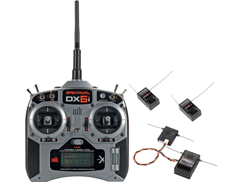 DX6i DSM X Spektrum AR6210, 2x AR400 Mode 1